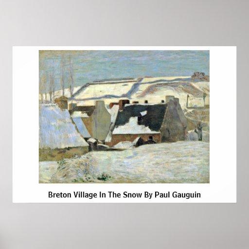 Pueblo bretón en la nieve de Paul Gauguin Póster