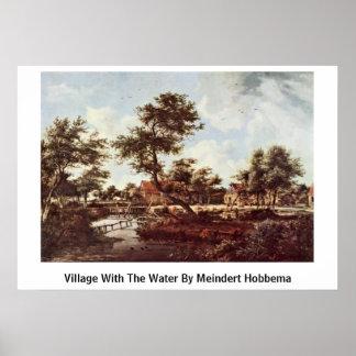 Pueblo con el Agua de Meindert Hobbema Impresiones