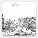 Pueblo con mercado alemán, 1704 pegatina cuadradas personalizada