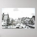 Pueblo con mercado alemán, 1704 póster