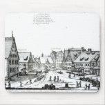 Pueblo con mercado alemán, 1704 alfombrillas de raton