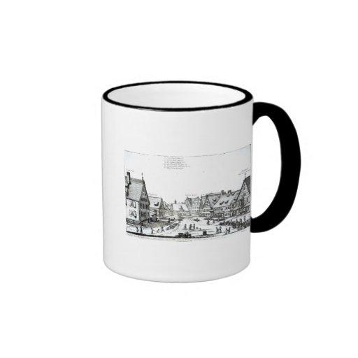 Pueblo con mercado alemán, 1704 taza de café