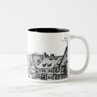 Pueblo con mercado alemán, 1704 taza de dos tonos