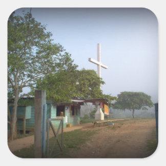 Pueblo de Borucan con la cruz Pegatina Cuadradas