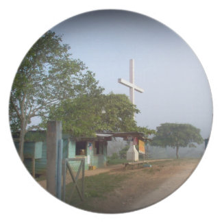 Pueblo de Borucan con la cruz Plato Para Fiesta