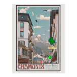 Pueblo de Chamonix (blanco) Tarjeta Postal