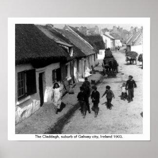 Pueblo de Claddagh - Galway Irlanda 1903 Póster