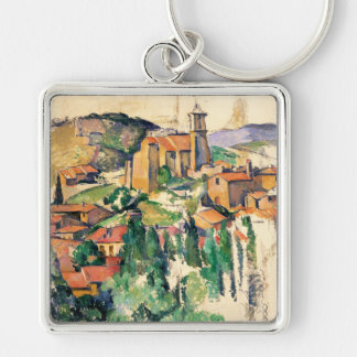 Pueblo de Gardanne, Paul Cézanne Llavero Cuadrado Plateado