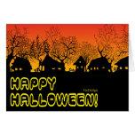 pueblo de Halloween de la puesta del sol Tarjeton
