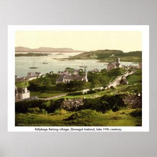 Pueblo de Killybegs, vintage Donegal Irlanda Póster