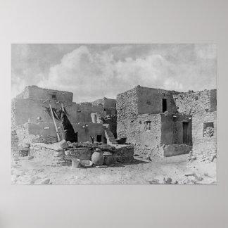 Pueblo de Kiva Oraibi de la serpiente de los indio Póster