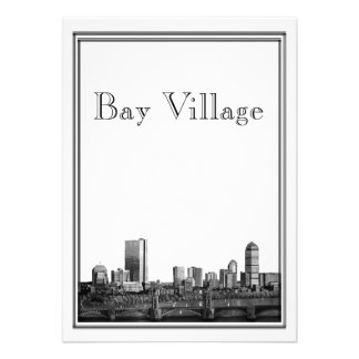 Pueblo de la bahía del boda del destino de Boston Invitacion Personalizada