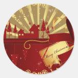 Pueblo de las Felices Navidad Etiqueta Redonda