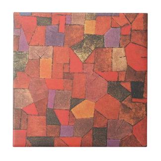 Pueblo de montaña (otoñal) por Paul Klee Azulejo Cuadrado Pequeño