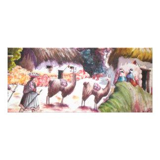 Pueblo de Perú de la imagen de la llama Plantillas De Lonas