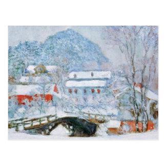 Pueblo de Sandviken en la nieve de Claude Monet Tarjetas Postales