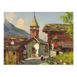 Pueblo de Suiza   del vintage en el Valais Tarjetas Postales