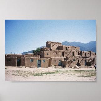 Pueblo de Taos en New México Póster