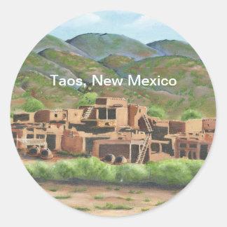 Pueblo de Taos, New México Pegatina Redonda