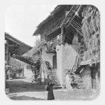 Pueblo de Valais, comienzo del siglo XX Pegatina Cuadrada
