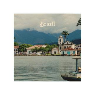 Pueblo del Brasil Impresión En Madera