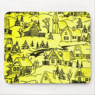 Pueblo del invierno amarillo
