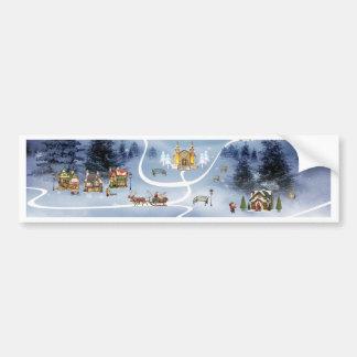 Pueblo del invierno, Felices Navidad Pegatina Para Auto