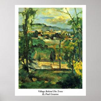 Pueblo detrás de los árboles de Paul Cezanne Impresiones