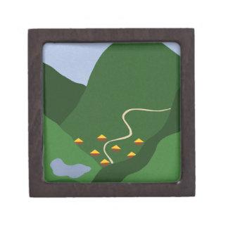 Pueblo en el arte caprichoso del dibujo animado de caja de joyas de calidad