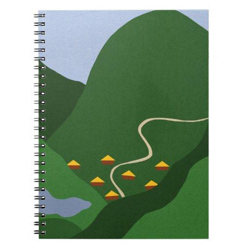 Pueblo en el arte caprichoso del dibujo animado de cuadernos