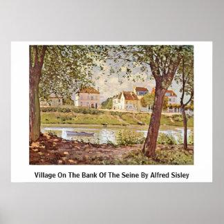 Pueblo en el banco del Sena de Alfred Sisley Poster