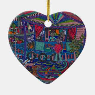 Pueblo flotante adorno de cerámica en forma de corazón