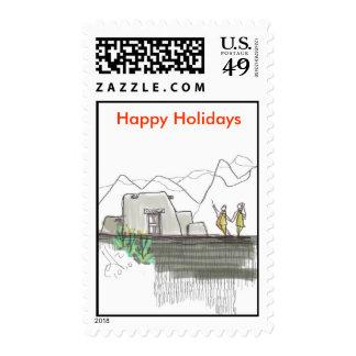 Pueblo holidays stamp