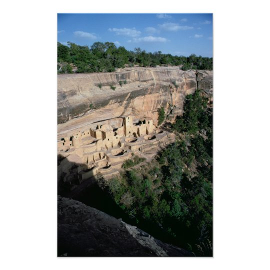 Pueblo Indian cliff dwellings Poster
