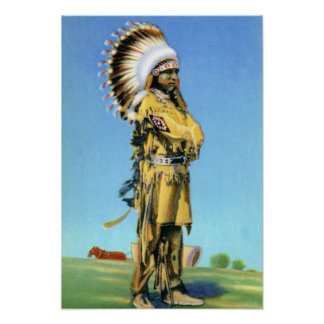 Pueblo Indian Dancer in Ceremonial Costume Print