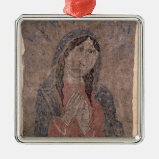 Pueblo Indian hide Painting of a Madonna, 1675 Metal Ornament