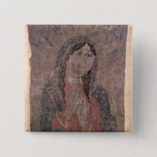Pueblo Indian hide Painting of a Madonna, 1675 Pinback Button