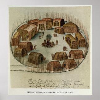 Pueblo indio de Pomeiooc Póster