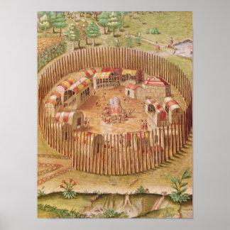 Pueblo indio fortificado, de 'breve posters