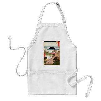 Pueblo japonés con la montaña delantal