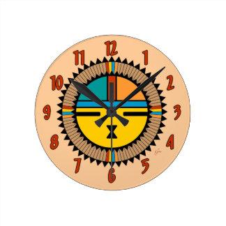 Pueblo Katsina (Kachina) Sun Face Round Clock