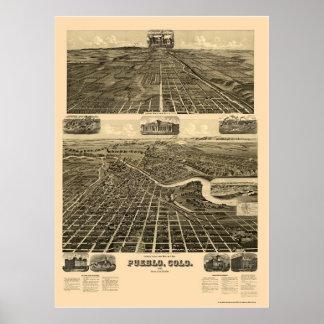 Pueblo, mapa panorámico del CO - 1890 Póster