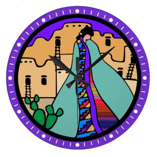 Pueblo Native American Clock with Purple Border