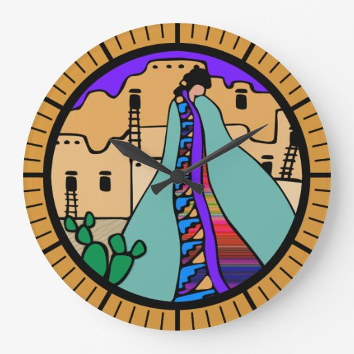 Pueblo Native American Southwest Design Wall Clocks