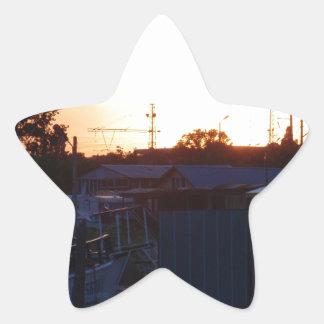 Pueblo pesquero búlgaro pegatina en forma de estrella
