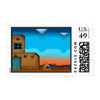 Pueblo Rain Postage Stamps