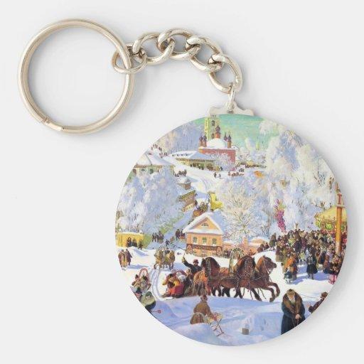 Pueblo ruso en el invierno llavero redondo tipo pin