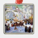 Pueblo ruso en el invierno ornamentos de reyes
