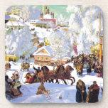 Pueblo ruso en el invierno posavasos de bebida