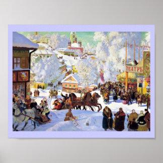 Pueblo ruso en el invierno póster